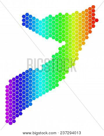 Hexagon Spectrum Somalia Map. Vector Geographic Map In Bright Colors On A White Background. Spectrum