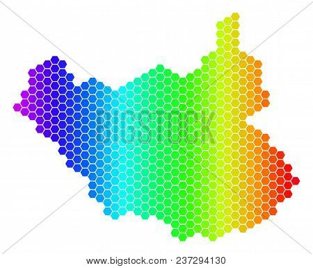 Spectrum Hexagonal South Sudan Map. Vector Geographic Map In Bright Colors On A White Background. Sp