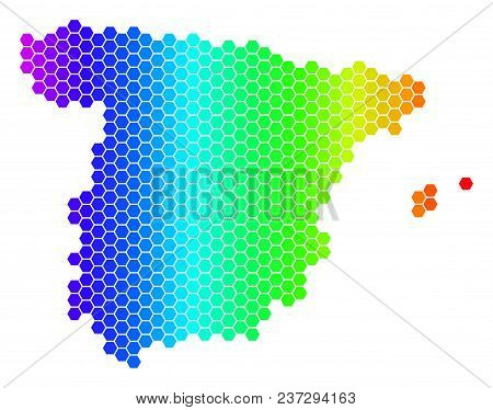 Spectrum Hexagonal Spain Map. Vector Geographic Map In Bright Colors On A White Background. Spectrum