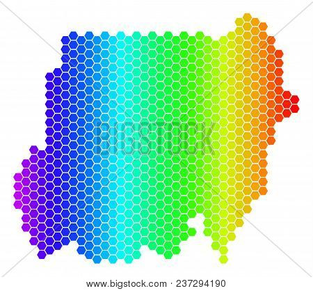 Spectrum Hexagonal Sudan Map. Vector Geographic Map In Bright Colors On A White Background. Spectrum