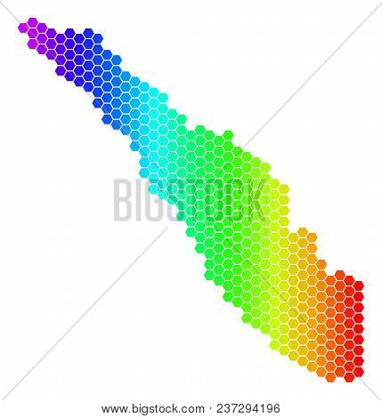 Spectrum Hexagonal Sumatra Island Map. Vector Geographic Map In Bright Colors On A White Background.
