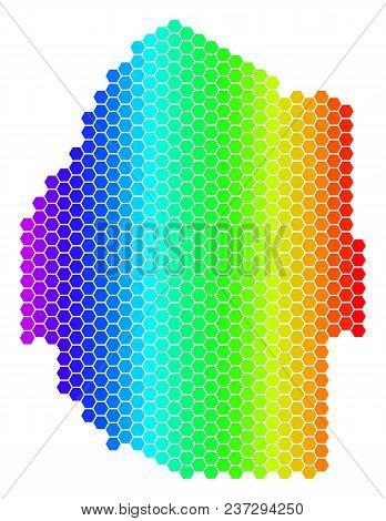 Spectrum Hexagonal Swaziland Map. Vector Geographic Map In Bright Colors On A White Background. Spec