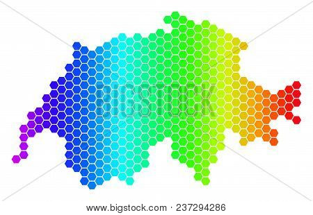 Spectrum Hexagonal Swissland Map. Vector Geographic Map In Bright Colors On A White Background. Spec