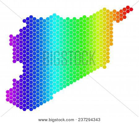 Spectrum Hexagonal Syria Map. Vector Geographic Map In Bright Colors On A White Background. Spectrum
