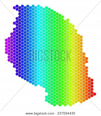 Hexagon Spectrum Tanzania Map. Vector Geographic Map In Bright Colors On A White Background. Spectru
