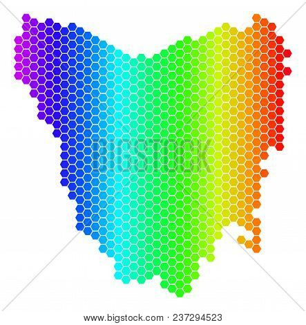 Spectrum Hexagonal Tasmania Island Map. Vector Geographic Map In Bright Colors On A White Background