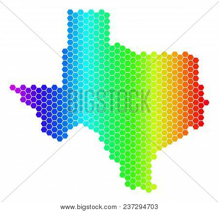 Spectrum Hexagonal Texas Map. Vector Geographic Map In Bright Colors On A White Background. Spectrum