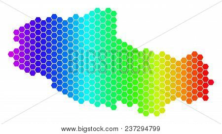 Spectrum Hexagonal Tibet Chinese Territory Map. Vector Geographic Map In Bright Colors On A White Ba