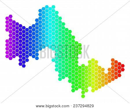 Spectrum Hexagonal Tilos Greek Island Map. Vector Geographic Map In Bright Colors On A White Backgro