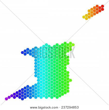 Hexagon Spectrum Trinidad And Tobago Map. Vector Geographic Map In Bright Colors On A White Backgrou