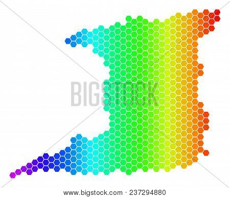 Hexagon Spectrum Trinidad Island Map. Vector Geographic Map In Bright Colors On A White Background.