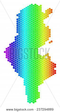 Spectrum Hexagonal Tunisia Map. Vector Geographic Map In Bright Colors On A White Background. Spectr