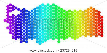 Spectrum Hexagonal Turkey Map. Vector Geographic Map In Bright Colors On A White Background. Spectru