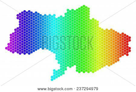 Spectrum Hexagonal Ukraine Map. Vector Geographic Map In Bright Colors On A White Background. Spectr