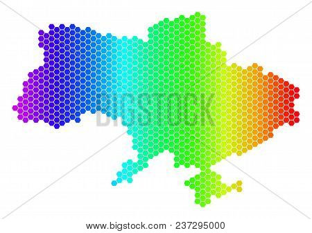 Spectrum Hexagonal Ukraine Map With Crimea. Vector Geographic Map In Bright Colors On A White Backgr