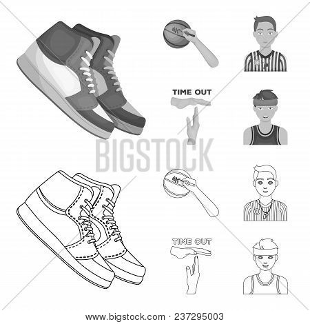 Basketball And Attributes Outline, Monochrome Icons In Set Collection For Design.basketball Player A