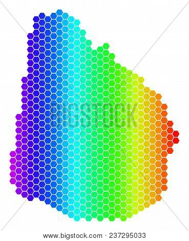 Hexagon Spectrum Uruguay Map. Vector Geographic Map In Bright Colors On A White Background. Spectrum