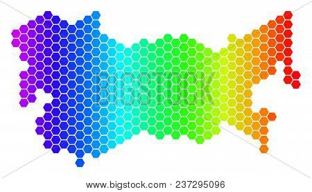 Hexagon Spectrum Ussr Map. Vector Geographic Map In Bright Colors On A White Background. Spectrum Ha