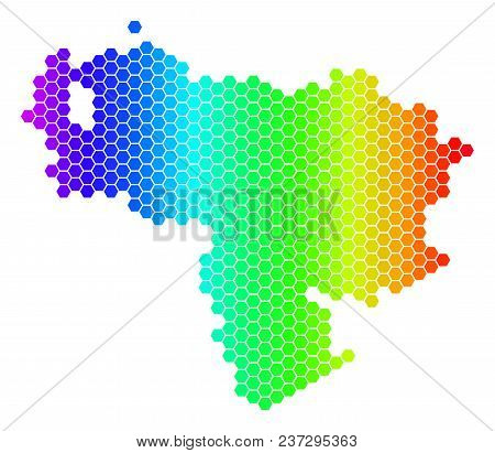 Spectrum Hexagonal Venezuela Map. Vector Geographic Map In Bright Colors On A White Background. Spec