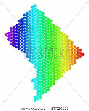 Hexagon Spectrum Washington Dc Map. Vector Geographic Map In Bright Colors On A White Background. Sp