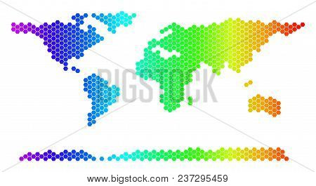 Hexagon Spectrum World Continent Map. Vector Geographic Map In Bright Colors On A White Background.