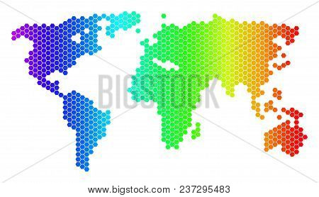 Hexagon Spectrum World Map. Vector Geographic Map In Bright Colors On A White Background. Spectrum H