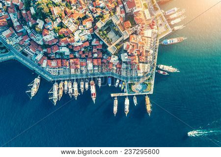 Aerial View Of Boats, Yahts, Ship And Architecture