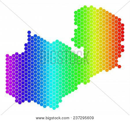 Hexagon Spectrum Zambia Map. Vector Geographic Map In Bright Colors On A White Background. Spectrum
