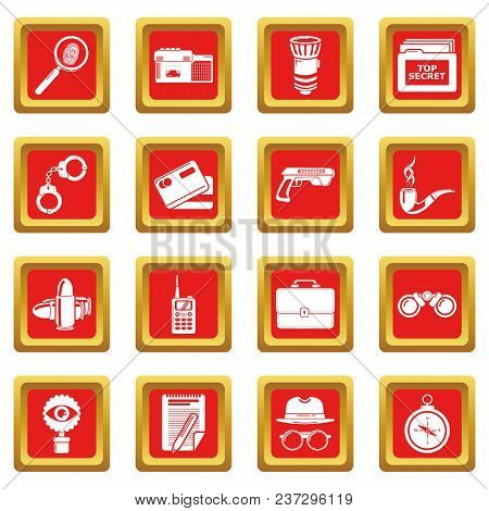 Spy Icons Set Vector Red Square Isolated On White Background