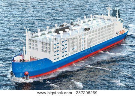 Livestock Carrier Ship In Ocean, 3d Rendering