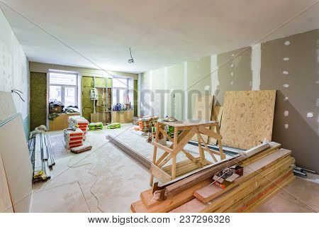 Working Process Of Installing Metal Frames For Plasterboard -drywall- For Making Gypsum Walls  In Ap