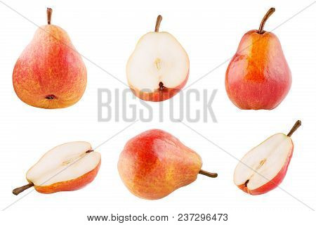 Isolated Fruits. Collection Of Sweet Pears Isolated On White Background With Clipping Path As Packag