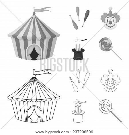 Circus Tent, Juggler Maces, Clown, Magician Hat.circus Set Collection Icons In Outline, Monochrome S