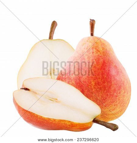 Isolated Fruits. Sweet Pear Fruits Isolated On White Background With Clipping Path As Package Design
