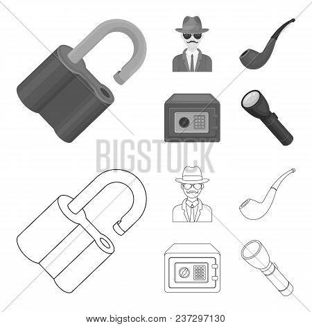 Lock Hacked, Safe, Smoking Pipe, Private Detective.detective Set Collection Icons In Outline, Monoch