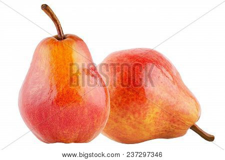 Isolated Fruits. Two Sweet Pears Fruits Isolated On White Background With Clipping Path As Package D
