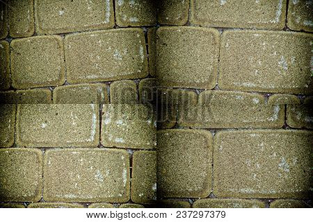 Abstract Background Of Orange Tile Brick Wall. Texture Surface Of Stone Wall.