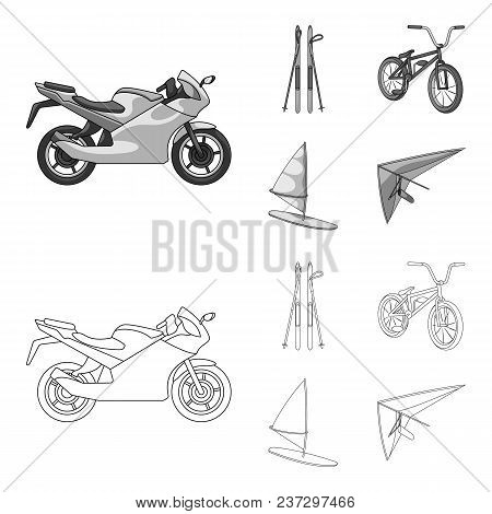 Motorcycle, Mountain Skiing, Biking, Surfing With A Sail.extreme Sport Set Collection Icons In Outli