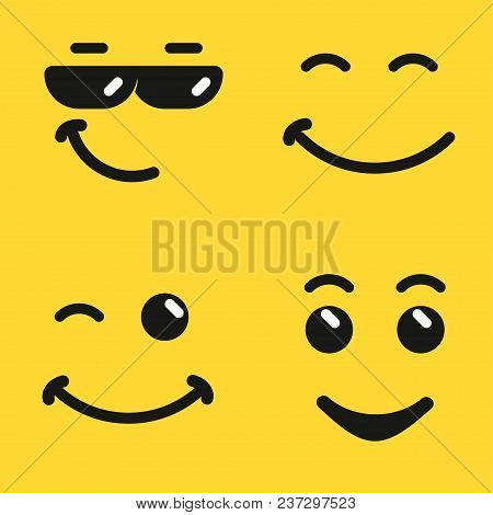 Smiling Face Emoji, Yellow Smiley Face Emoticon With Sunglasses, Cartoon Comic Character. Vector Ico