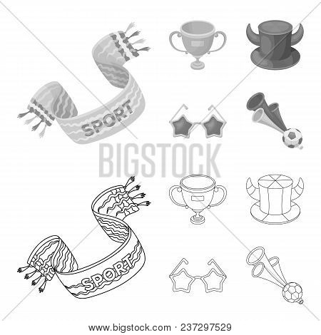 A Scarf, A Hat With Horns And Other Attributes Of The Fans.fans Set Collection Icons In Outline, Mon