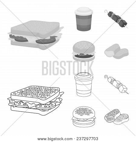 Sandwich, Coffee, Shish Kebab, Burger.fast Food Set Collection Icons In Outline, Monochrome Style Ve