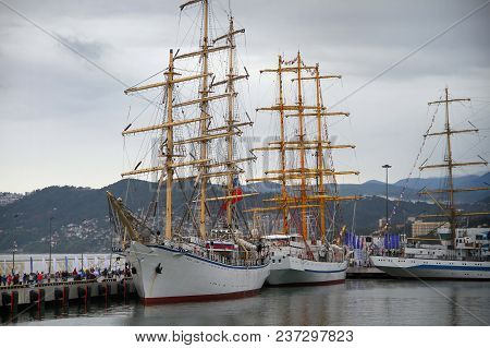 A Large Antique Sailing Ship In The Port