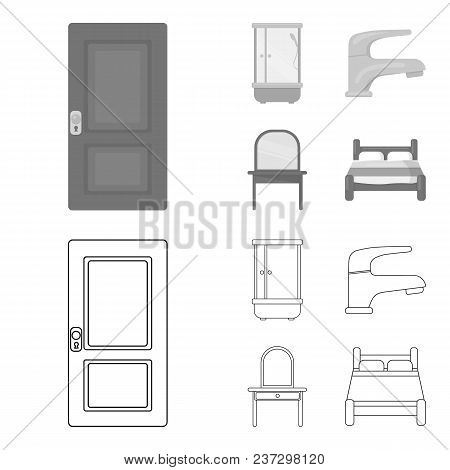 Door, Shower Cubicle, Mirror With Drawers, Faucet.furnitureset Collection Icons In Outline, Monochro