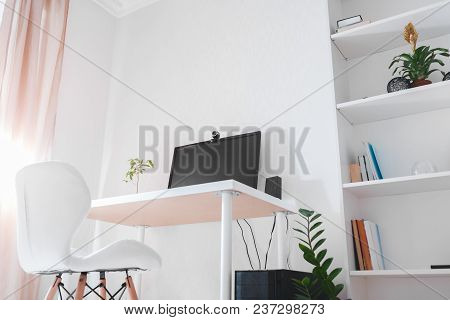 Workspace Of A Freelancer. Interior Of Office Room To Work In. Modern Design With White Furniture, C