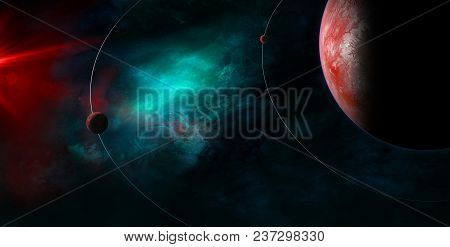Celestial Art, Small Planets Orbiting Around Big Planet. Stars And Galaxies In Outer Space Showing T
