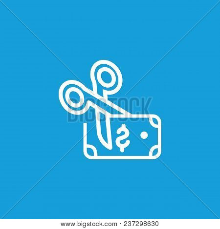Icon Of Dollar Bank Note And Scissors. Money, Cut, Budget. Economy Concept. Can Be Used For Topics L