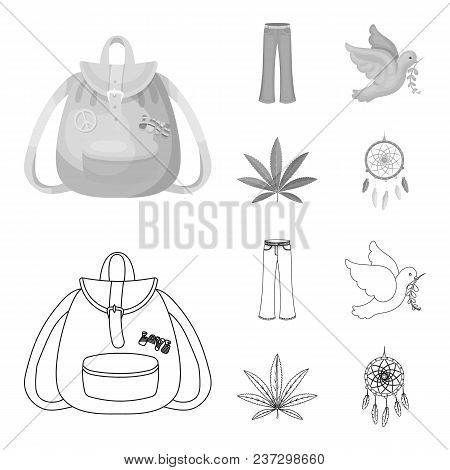 A Cannabis Leaf, A Dove, Jeans, A Backpack.hippy Set Collection Icons In Outline, Monochrome Style V