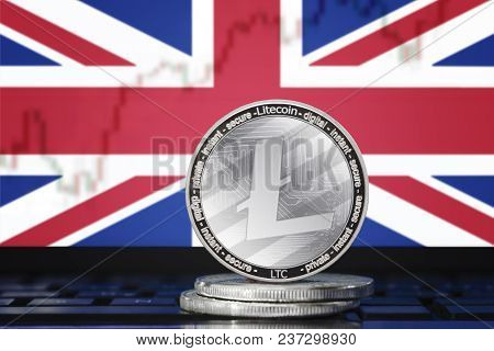 Litecoin (ltc) Cryptocurrency; Coin Litecoin On The Background Of The Flag Of United Kingdom Of Grea