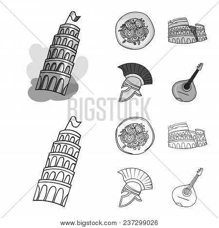 Pisa Tower, Pasta, Coliseum, Legionnaire Helmet.italy Country Set Collection Icons In Outline, Monoc