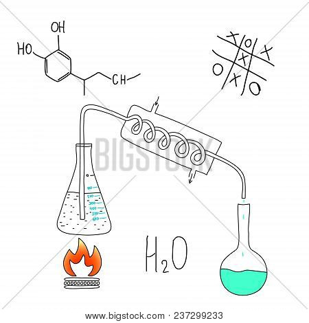 Chemical Laboratory, The Principle Of Operation Of The Distiller. Pencil Sketch.